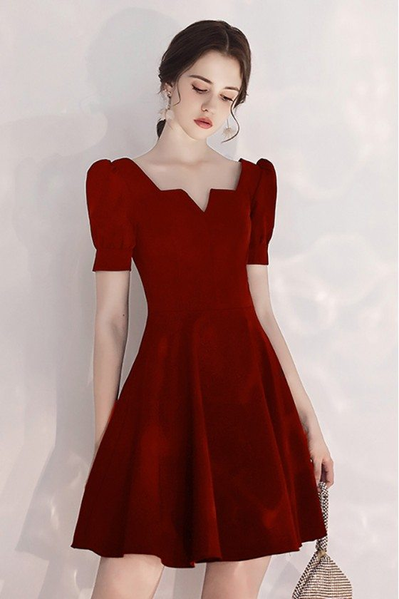 Burgundy Aline Party Dress Short With Bubble Sleeves