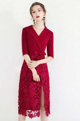 Chic Short Red Lace Formal...