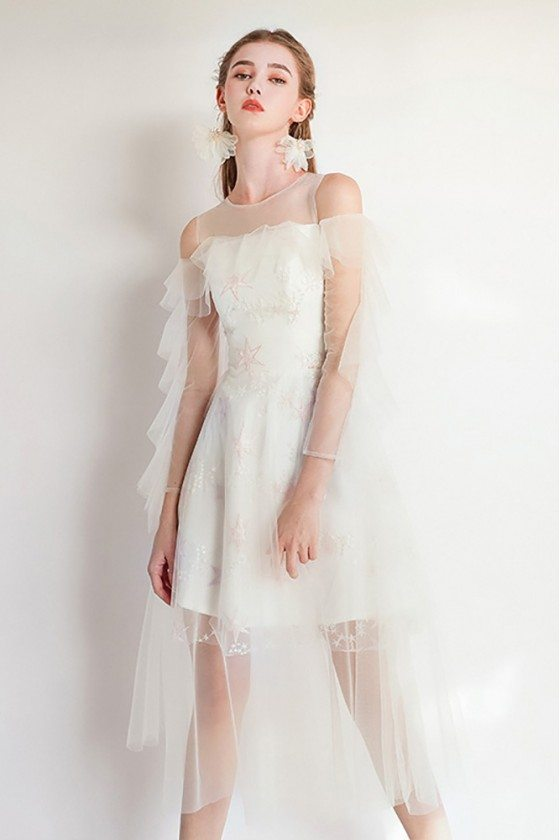 Fairy Aline Short Tulle Party Dress Sheer Neck With Sleeves