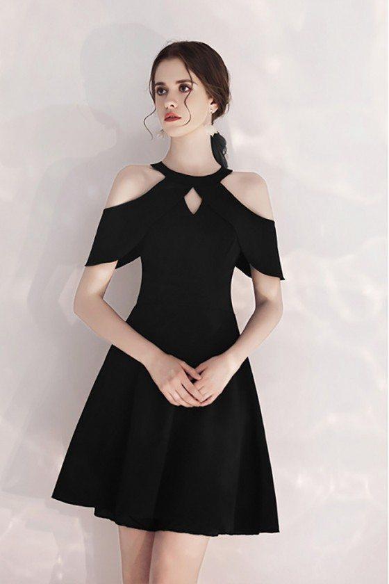 Short Halter Little Black Party Dress With Cold Shoulder