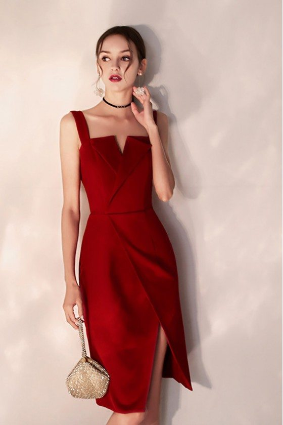 Slim Little Red Party Dress With Side Slit Straps