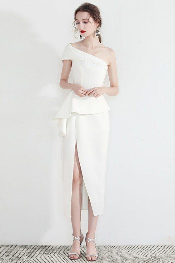 White One Shoulder Formal Party Dress With Side Slit