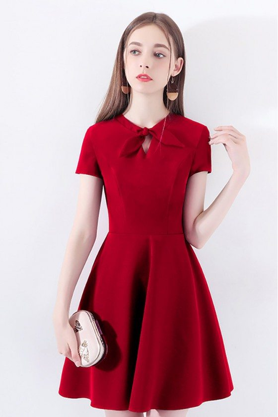 Burgundy Red Flare Short Party Dress With Short Sleeves Bow Knot