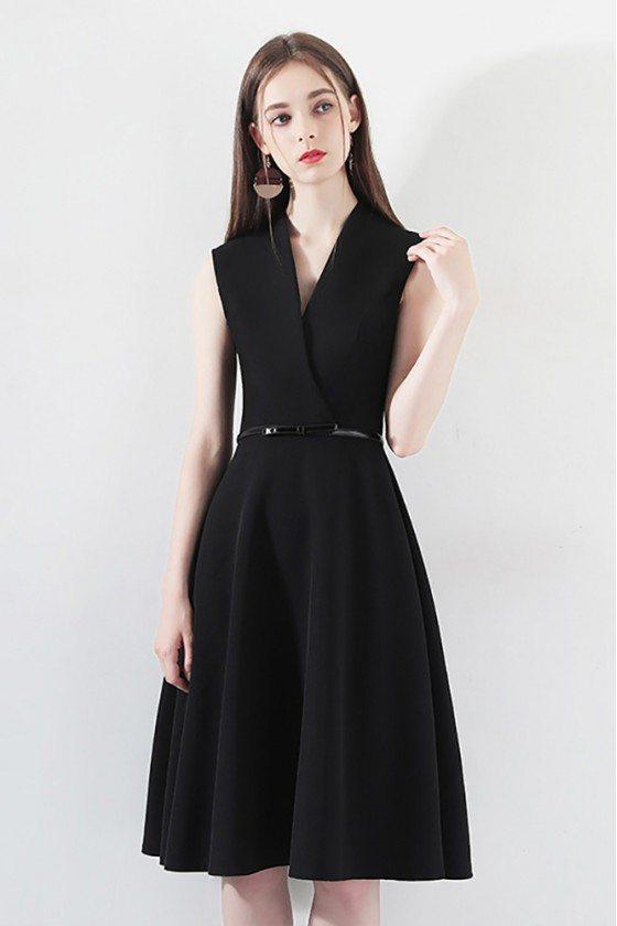 Black Short Aline Party Dress Wrap Vneck With Sash