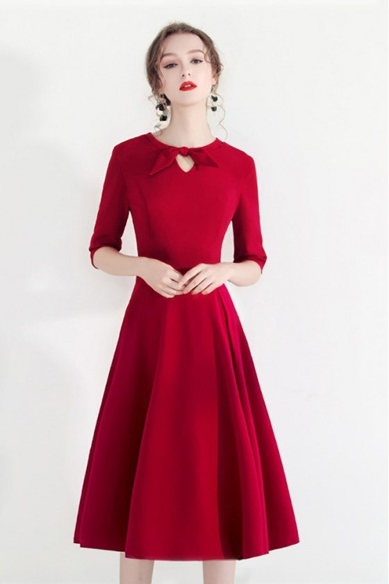 Fashion Red Semi Party Dress Half Sleeve With Retro Bow