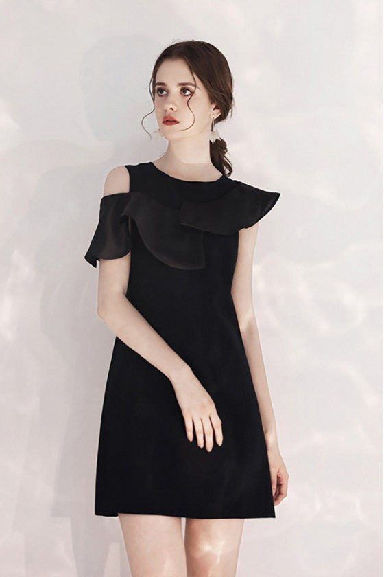 Little Black Chic Short Party Dress Aline With Flounce