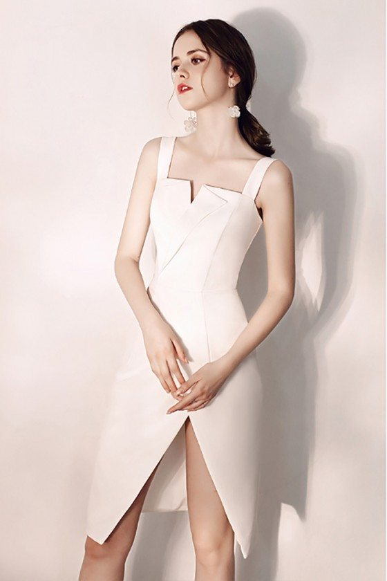 Chic White Bodycon Short Party Dress Fitted With Slit
