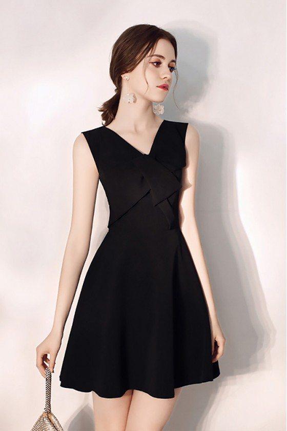 Simple Little Black Flare Party Dress Vneck Sleeveless