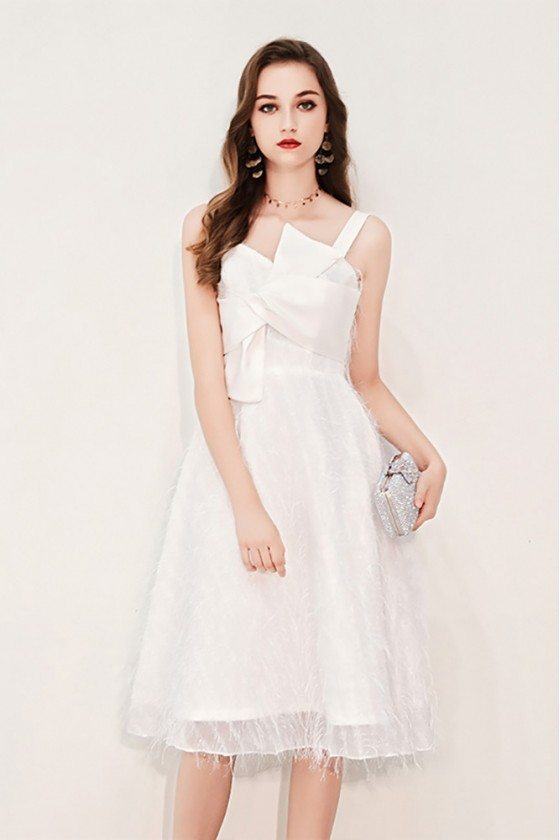 Pretty White Lace Birthday Party Dress With Big Bow Front