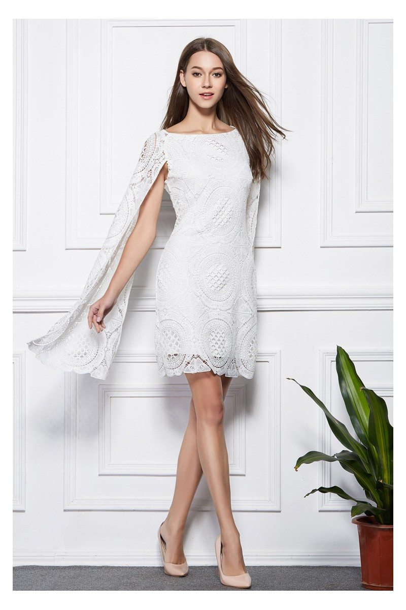 White Lace Cape Short Dress 109 Dk339 Sheprom Com