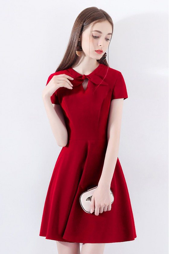 Chic Little Red Dress Short With Bow Knot Sleeves