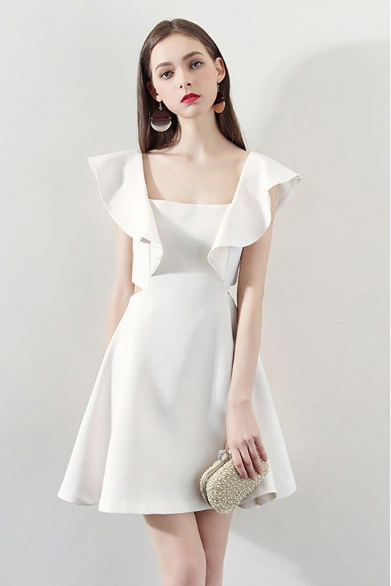 Special White Square Neck Aline Party Dress For Semi Formal