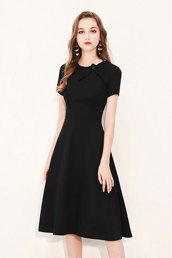 Retro Chic Black Knee Length Party Dress With Bow Knot Short Sleeves
