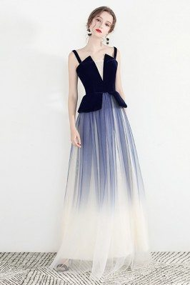 Unusual Ombre Blue Long...