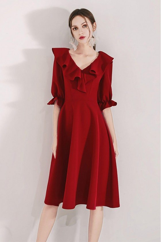 Burgundy Aline Knee Length Party Dress With Flounce Half Sleeves