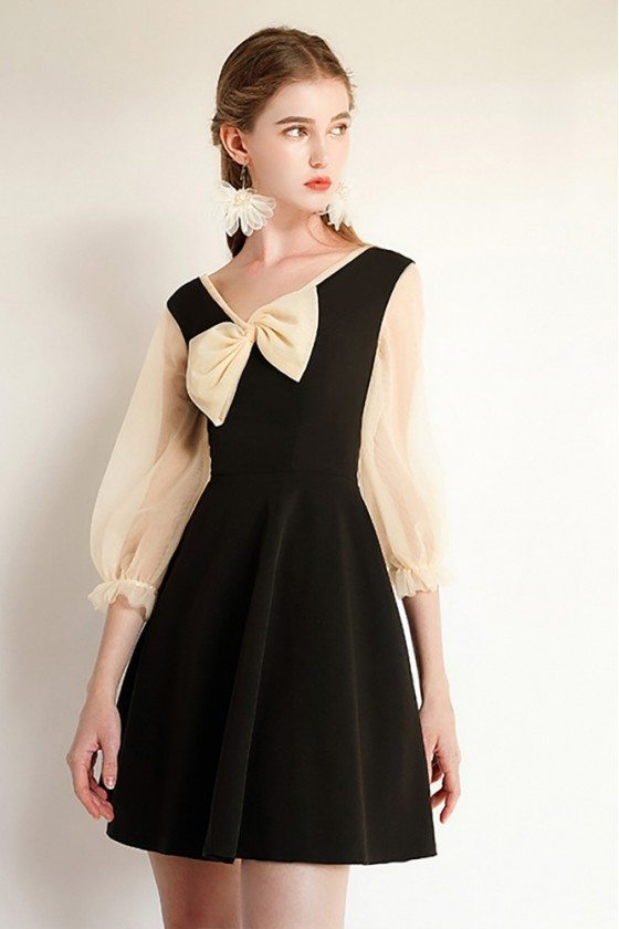 French Chic Black Short Party Dress With Sheer Bubble Sleeves