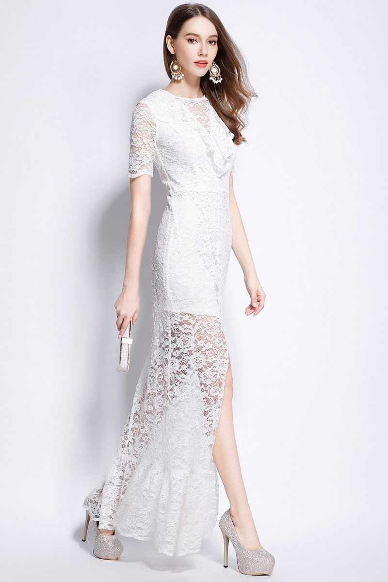 White Lace Slit Long Dress With Sleeves - $87 #CK6161 ...