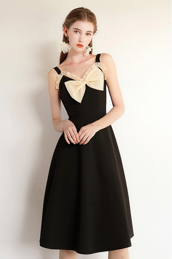 Chic Black Midi Party Dress With Big Bow Straps