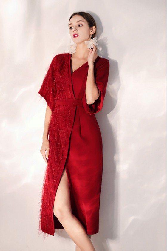 Sexy Slit Burgundy Party Dress With Sash Wrap Dress