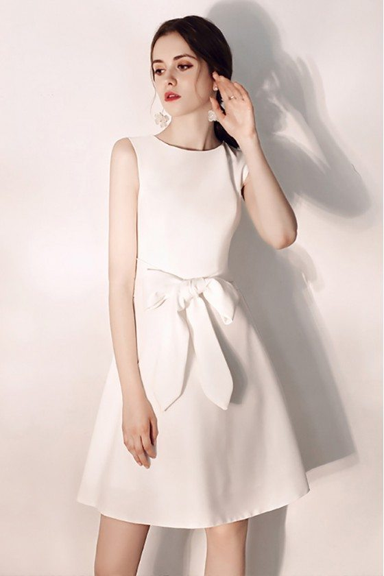 Elegant White Aline Hoco Party Dress Short With Big Bow Sash