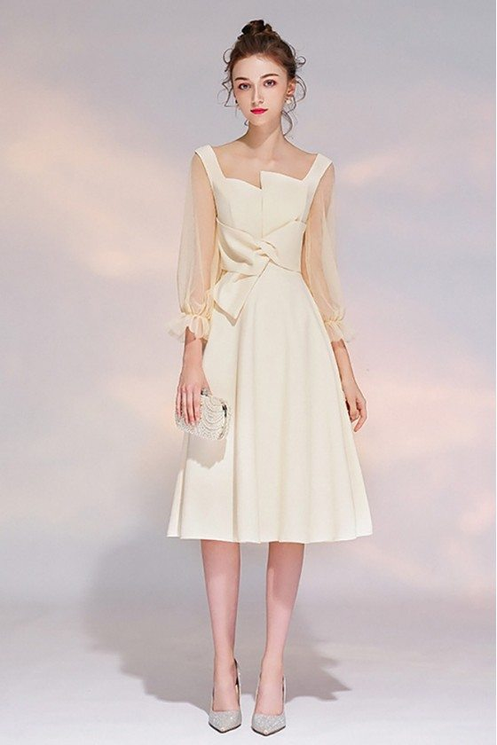 Champagne Knee Length Party Dress Aline With 3/4 Sleeves