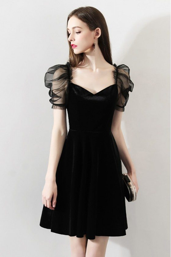 Unique Little Black Party Dress With Bubble Sleeves
