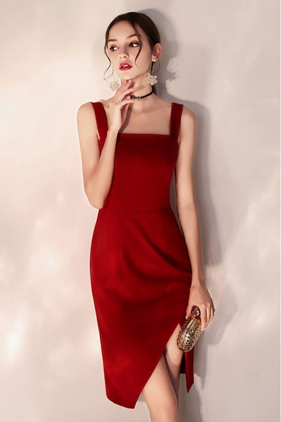 Little Red Short Party Dress Bodycon Fitted With Slit