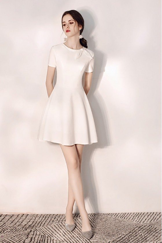 Cute Little White Flare Hoco Dress With Bow Knot Round Neck