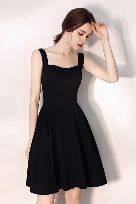 Little Black Aline Semi Formal Party Dress With Straps