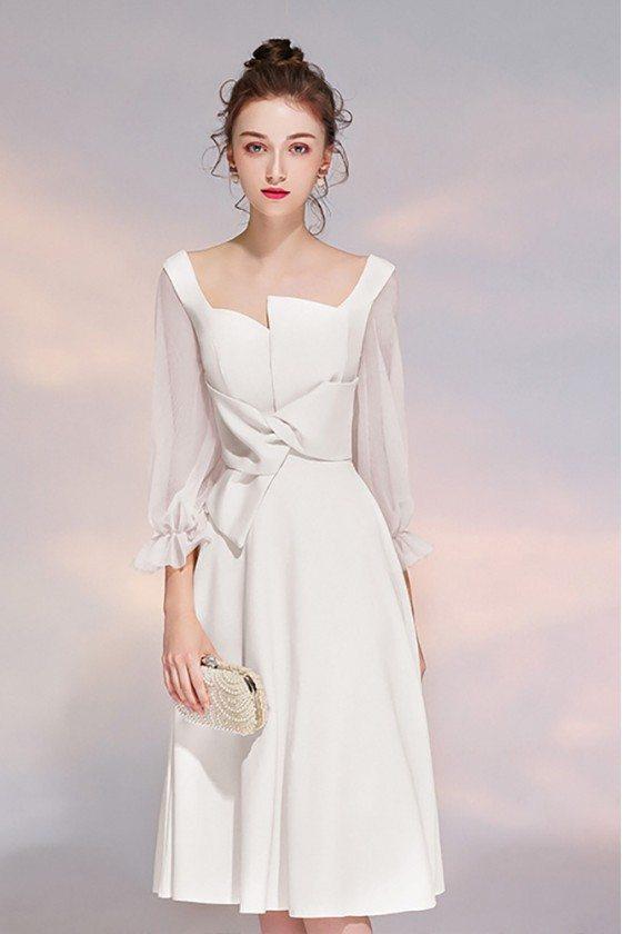 Elegant White 3/4 Sleeves Party Dress Aline With Sheer Sleeves