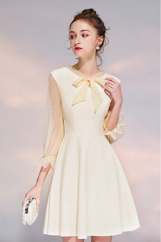 Champagne Bow Knot Short Party Dress With Sheer Sleeves