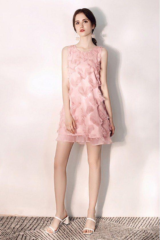 Cute Pink Sleeveless Short Party Dress Semi Formal