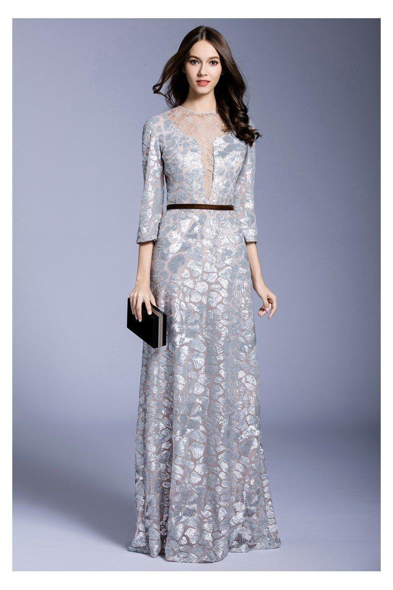 Silver Sequins 3/4 Sleeve Long Formal Dress - $134 #CK538 - SheProm.com