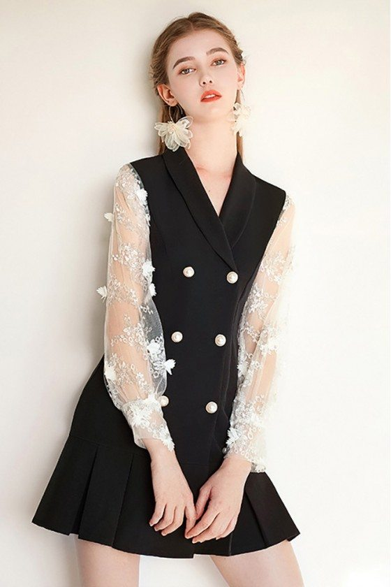 Chic Black Short Party Dress Vneck Collar With Long Sleeves