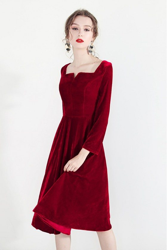 Retro Burgundy Velvet Short Party Dress With Square Neckline Long Sleeves