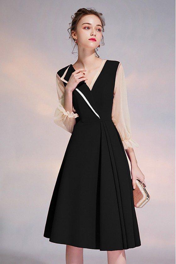 Black Vneck Knee Length Semi Formal Dress With Sheer Sleeves
