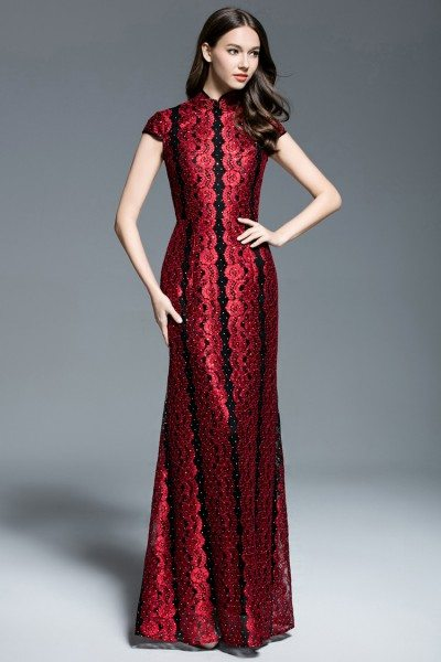 Exlusive Qipao Style High Neck Long Formal Dress 92 Ck544