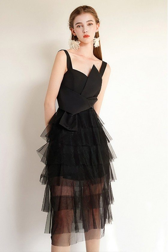 Black Tulle Aline Short Party Dress Slim With Straps