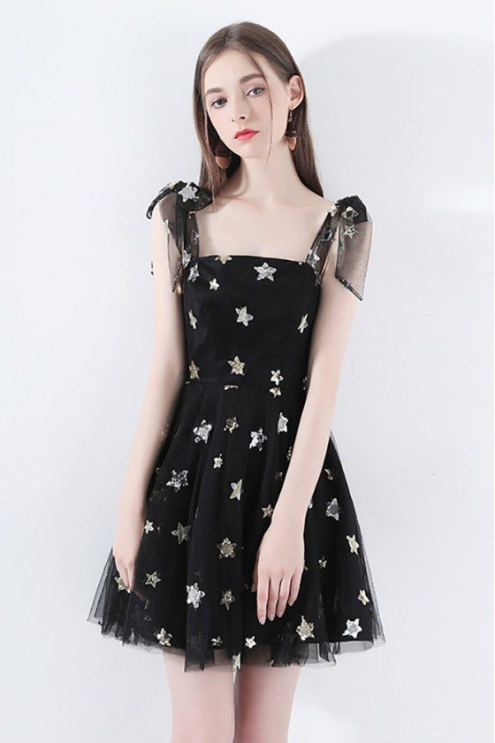 Cute Black Tulle Star Short Party Dress With Bow Straps