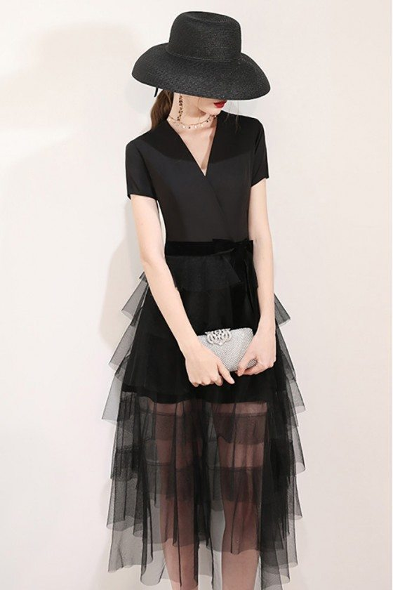 Vogue Black Tulle Tea Length Party Dress With Vneck Short Sleeves