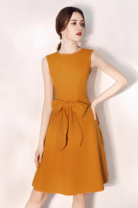 Sleeveless Short Party Dress Aline Bow Knot In Front