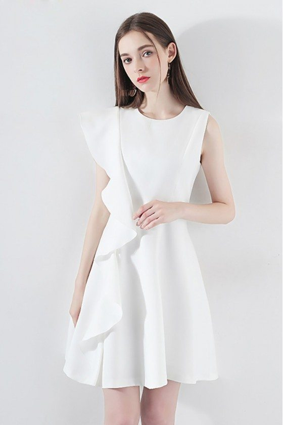 Chi White Asymmetrical Sleeve Party Dress Aline With Ruffles