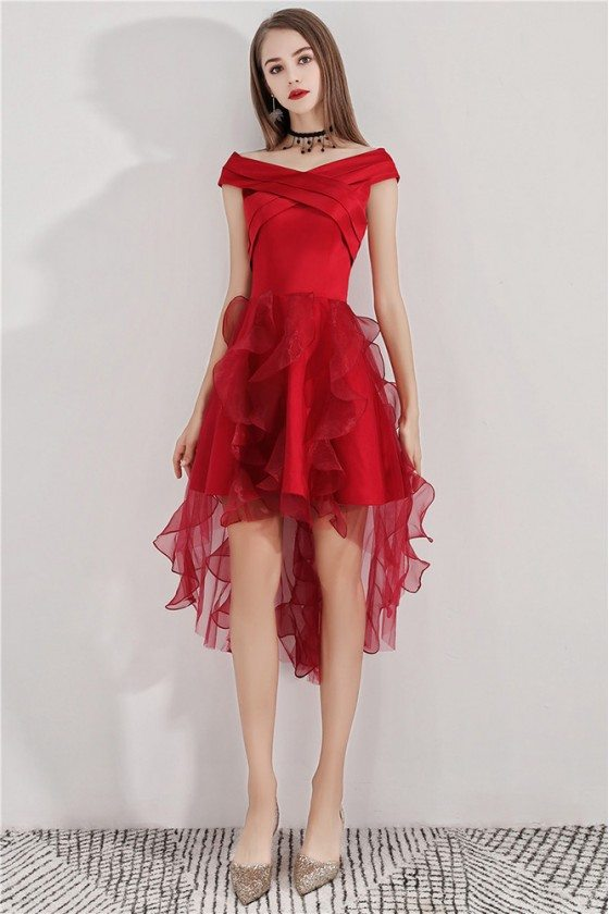Cute Red Puffy Homecoming Dress High Low With Ruffles
