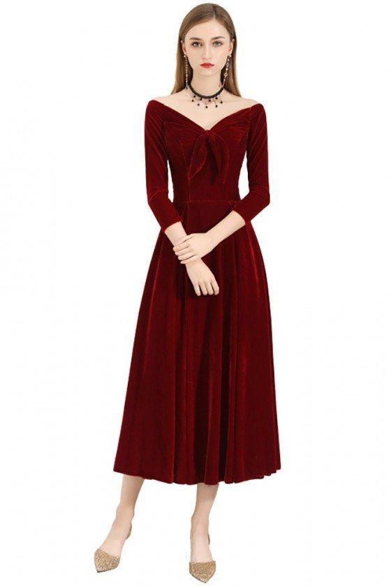 Burgundy Velvet Chic Midi Party Dress Vintage With Sleeves