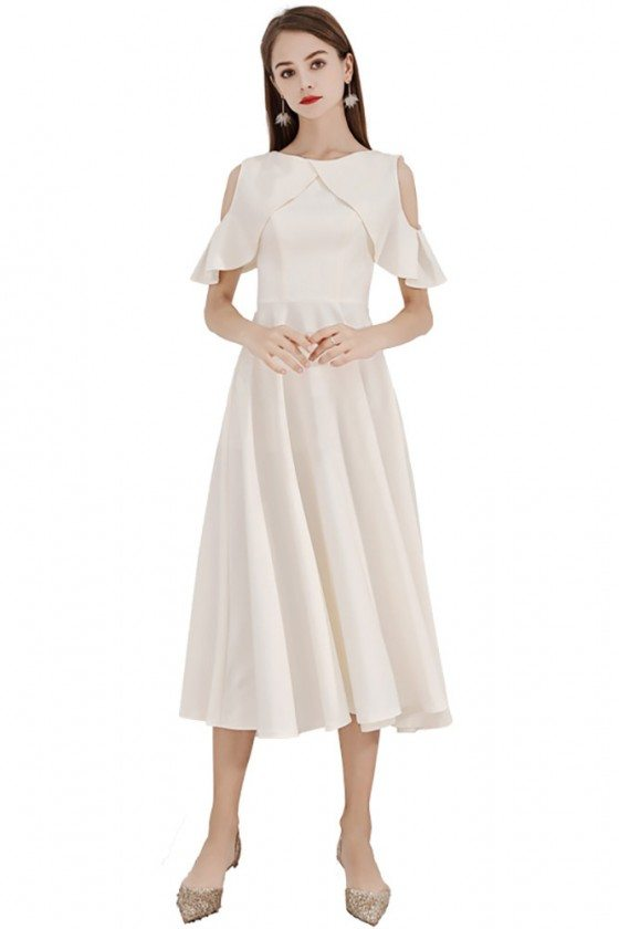 Light Champagne Midi Length Party Dress With Cold Shoulder