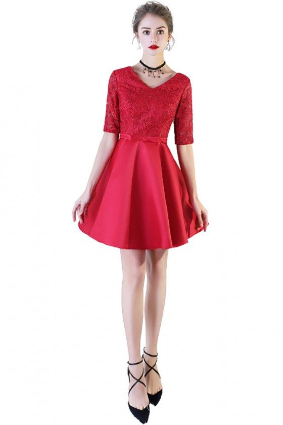 Red Lace Short Party Dress Vneck With Short Sleeves