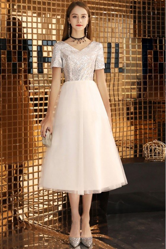 Silver With White Tulle Midi Party Dress With Sleeves