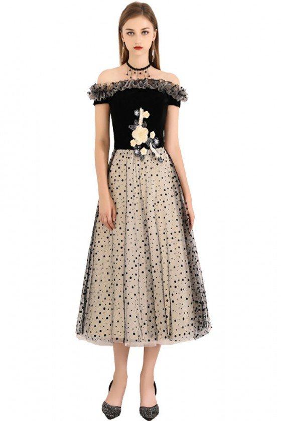 Black Polka Dot Off Shoulder Midi Party Dress