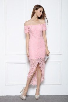 Pink Lace Off Shoulder High Low Party Dress