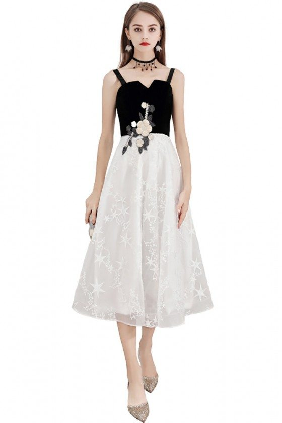 Black And White Knee Length Party Dress Lace With Straps